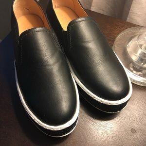 Black Glitter Slip on Shoes